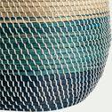 Panier à linge en jonc de mer - naturel et bleu H44xD48cm-SIMON