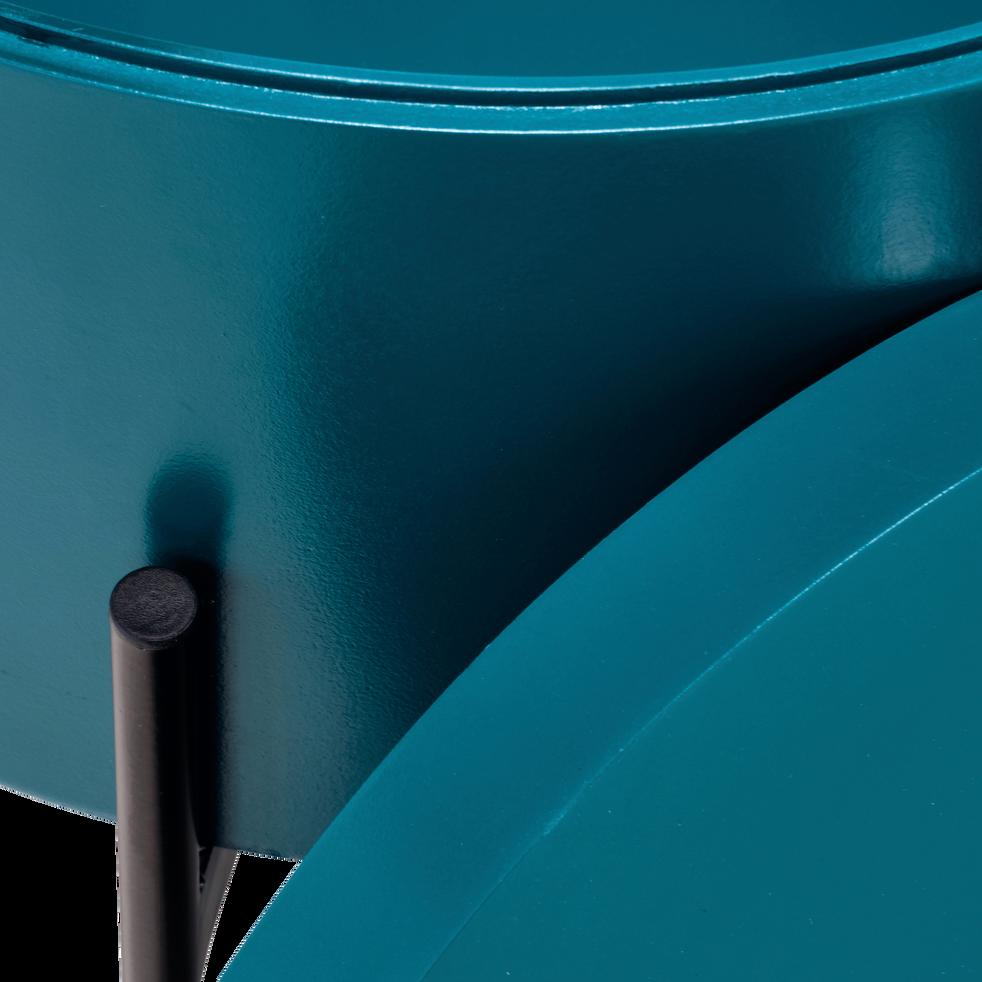 Bout de canapé bleu niolon avec coffre de rangement-DOUFINO
