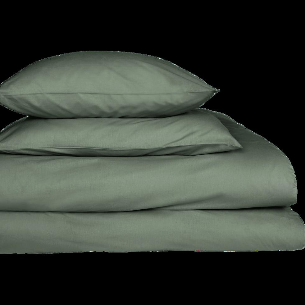 Drap housse en coton Vert cèdre 140x200cm -bonnet 25cm-CALANQUES