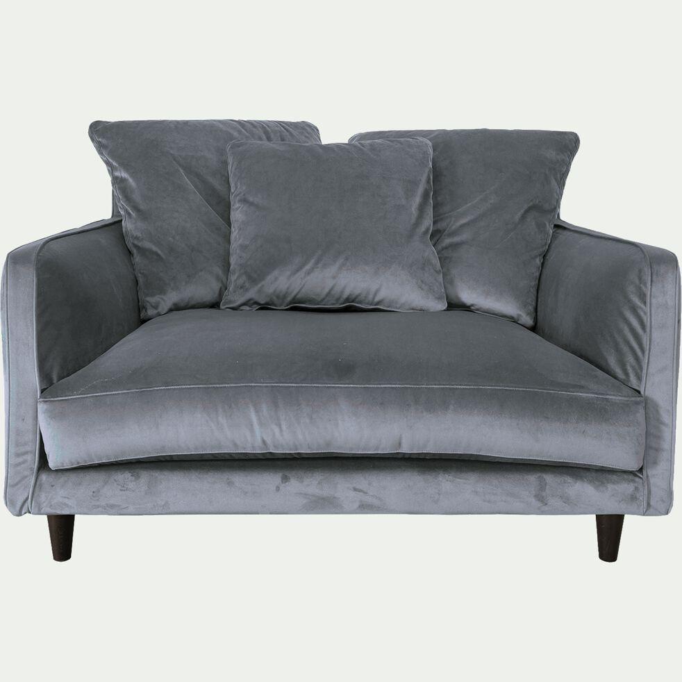 Canapé 1,5 place fixe en velours - gris restanque-LENITA