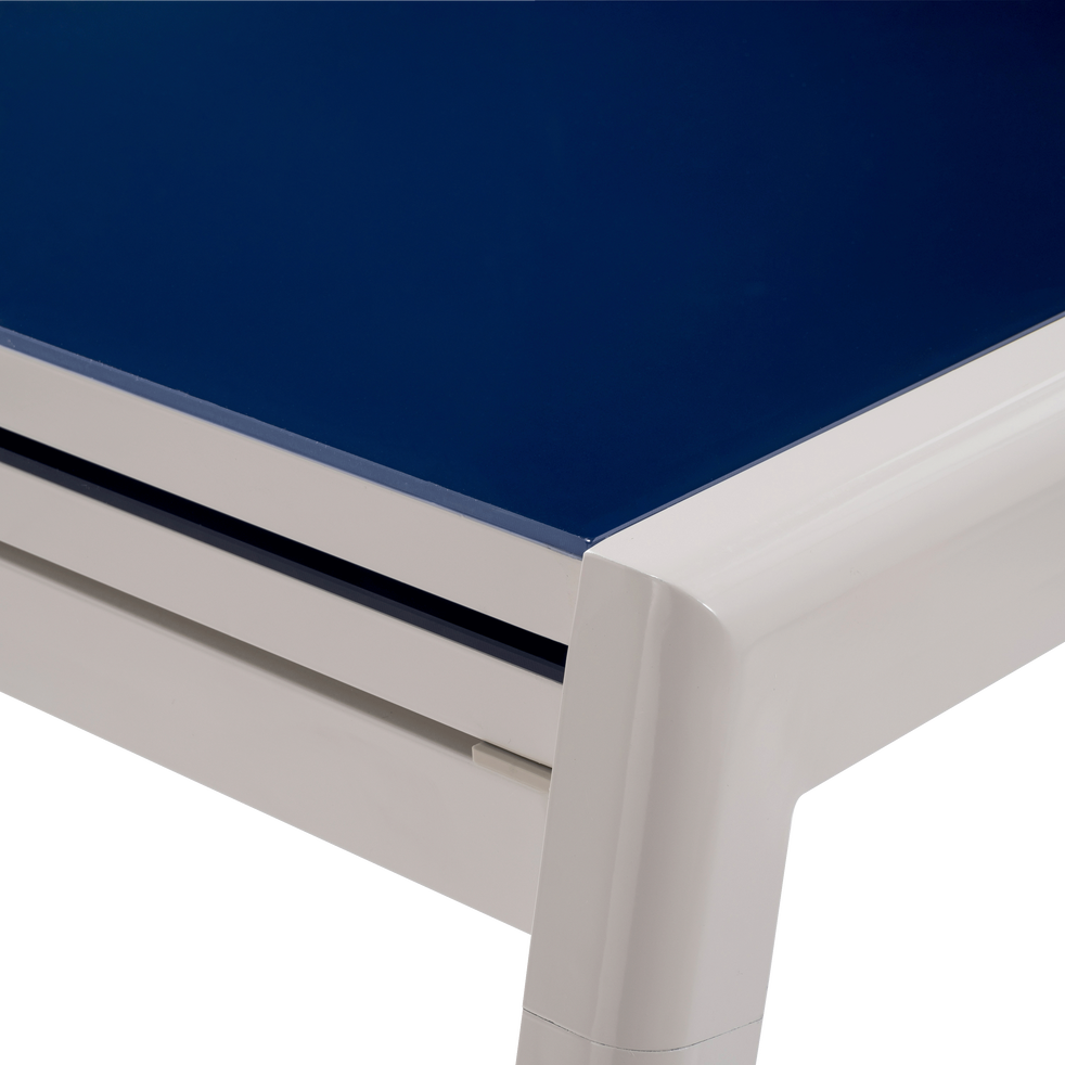 COSY - Table de jardin extensible bleue en alu et verre trempé (2 à 6  places)