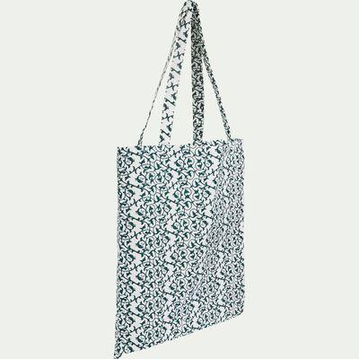Sac en coton motif vignes - bleu 38x42cm-VIGNE