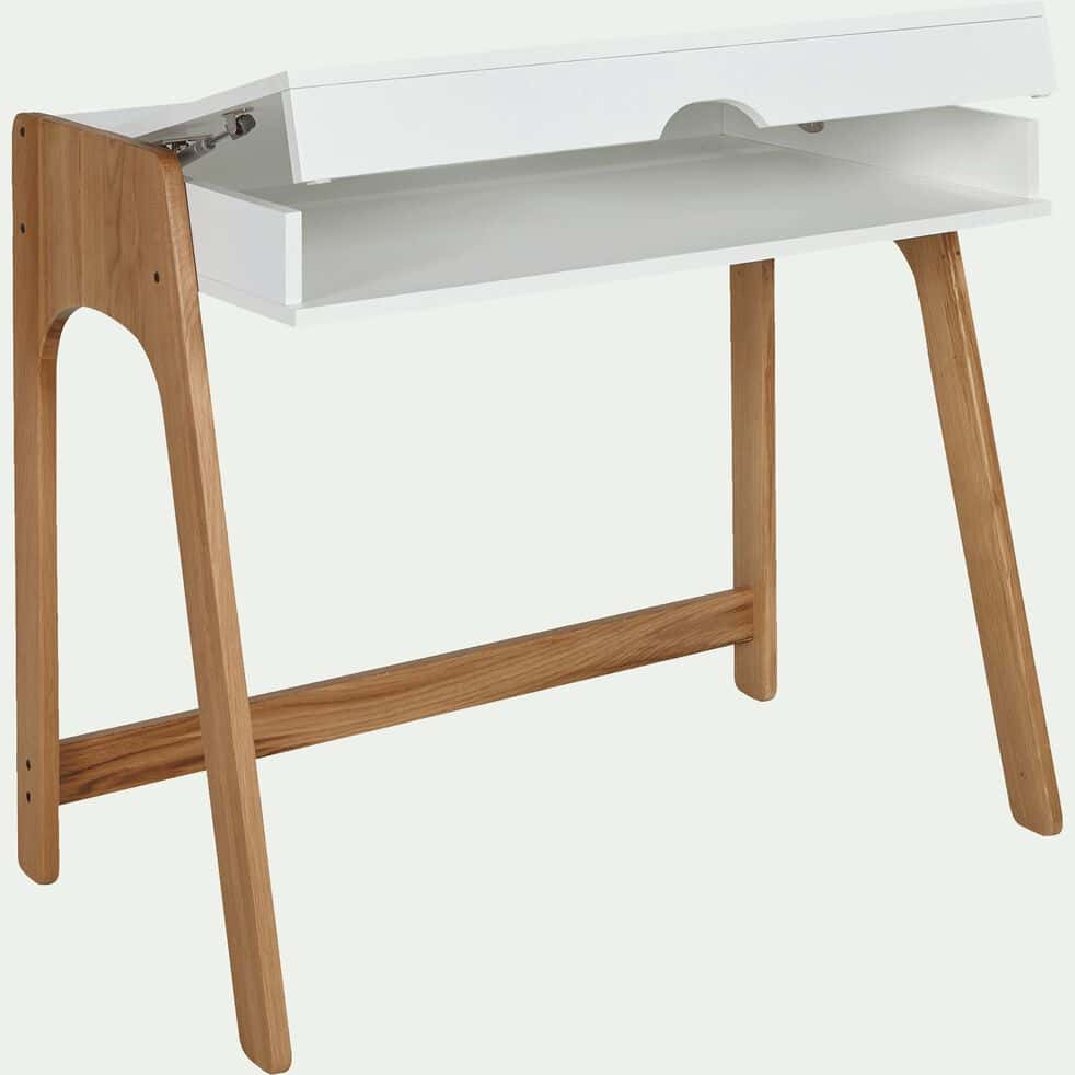 Bureau avec plateau relevable en bois - blanc-DUC