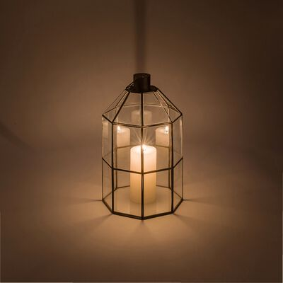 Lanterne en verre et métal noir H23,5cm-NINO
