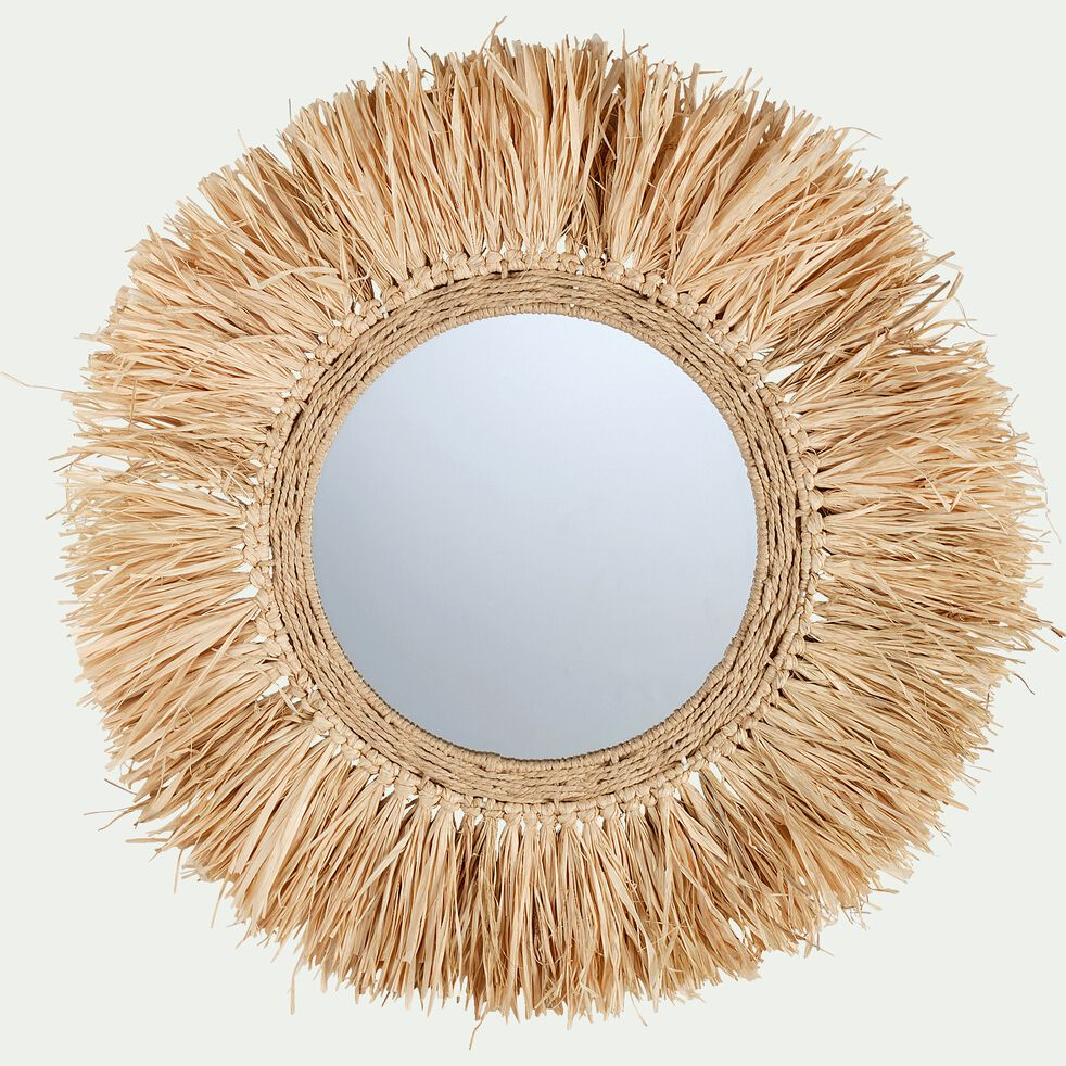 Miroir rond avec franges en raphia D65cm-FARO