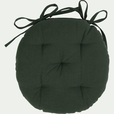 Galette de chaise ronde en coton - vert cèdre D40cm-CALANQUES