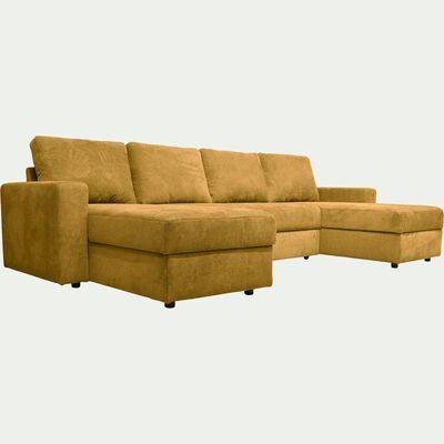 Canapé en U convertible en tissu - jaune argan-HONORE