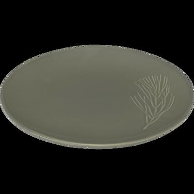 Assiette à dessert en grès vert cèdre D20cm-PIN D'ALEP