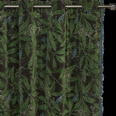 Rideau frangé en coton à œillets vert cèdre 135x250cm-OMBRAGE