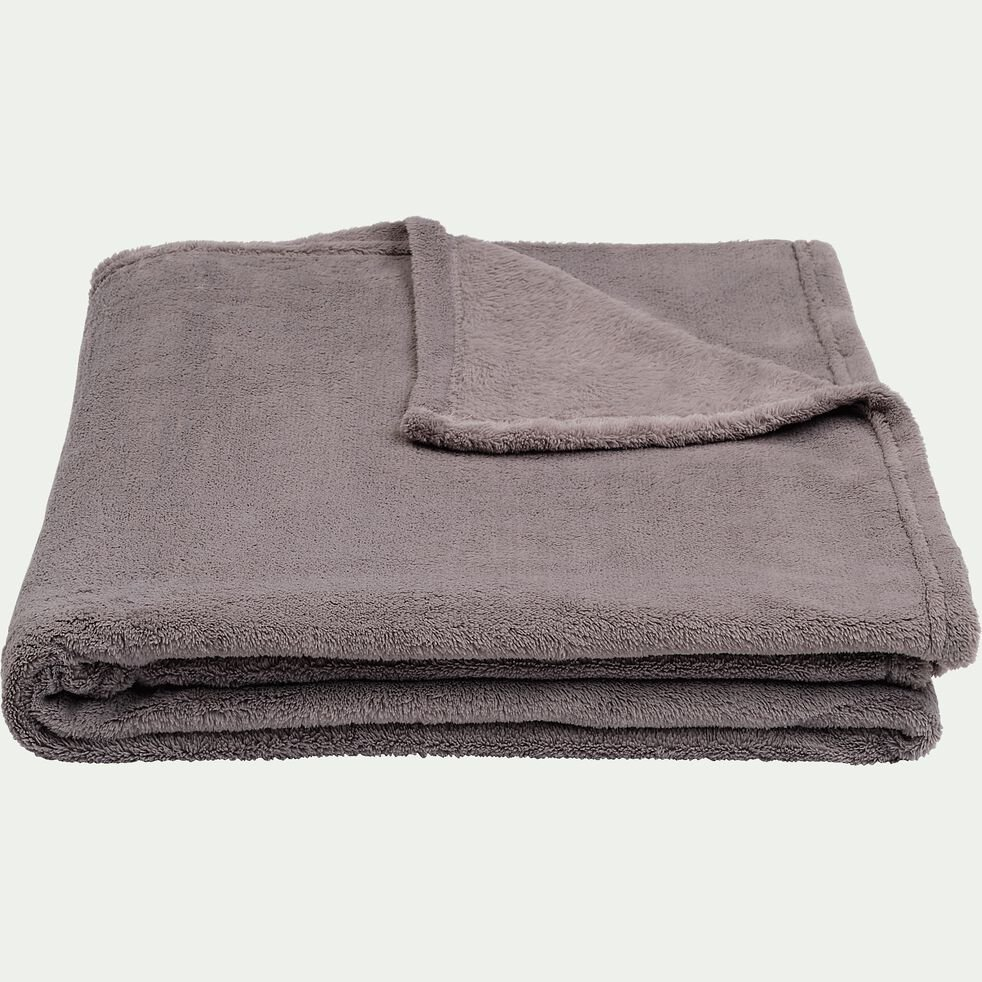 Plaid doux - gris restanque 180x220cm-ROBIN