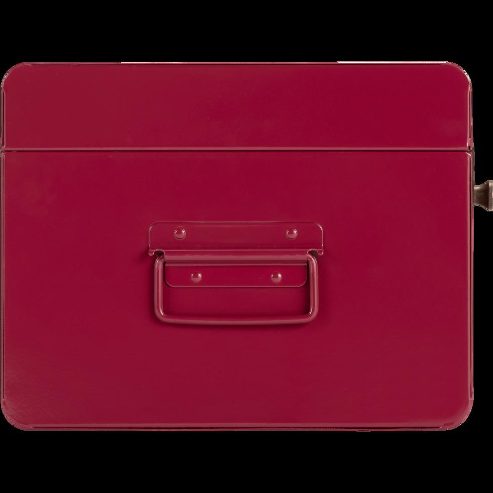 Malle de rangement en métal rouge l44xH21xP27cm-ALSA
