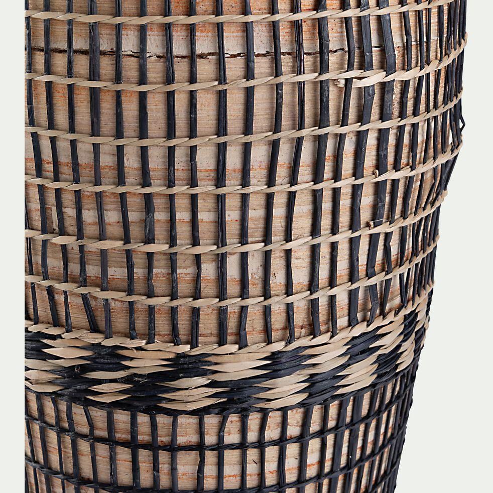 Vase tressé en bambou et jonc de mer - noir et naturel D20xH84cm-AGANTA