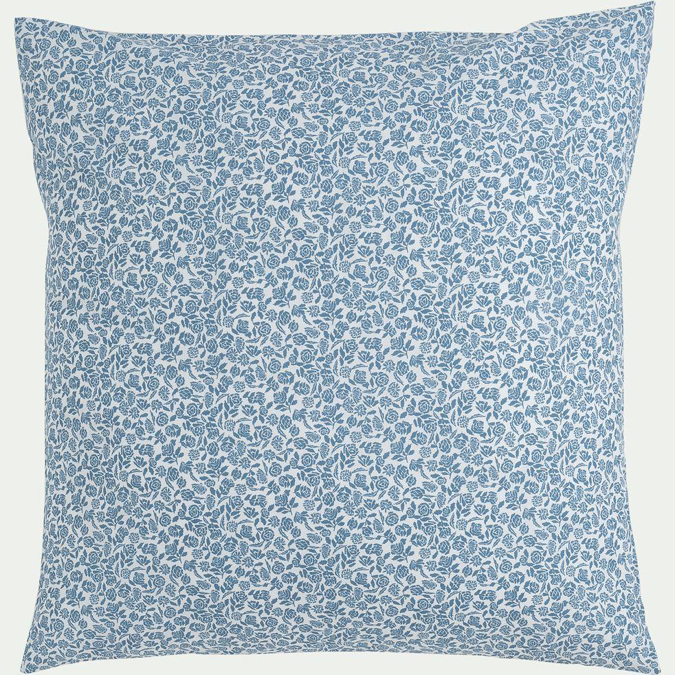 Housse de couette et 2 taies d'oreiller en coton motif floral – bleu 260x220cm-ROSAE