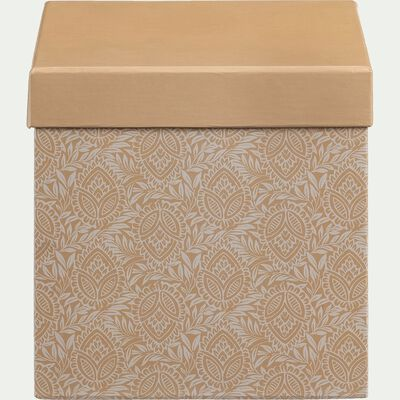 Boite de rangement motif amande - jaune 14x14cm-AMANDE