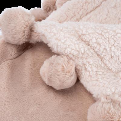 Plaid 100x150cm rose argile à pompons pour enfant-ISABY
