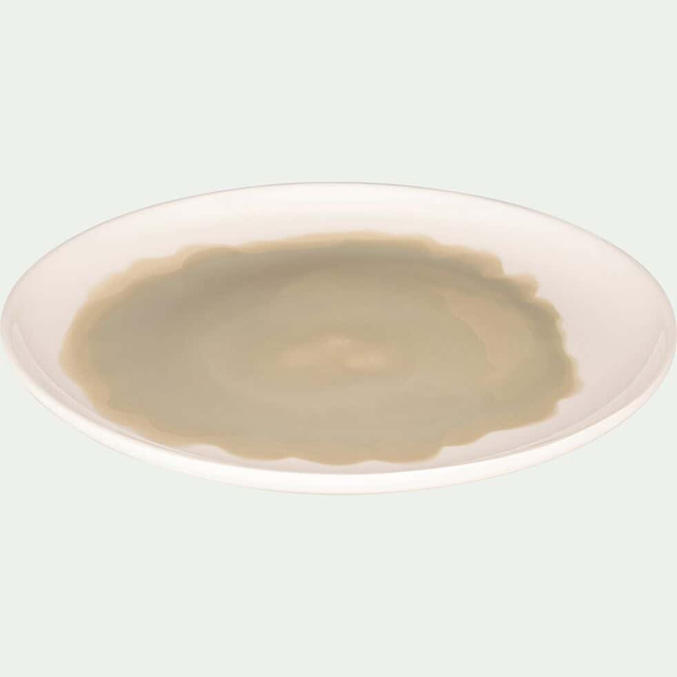 Assiette plate en faïence vert olivier D27cm-SANARY