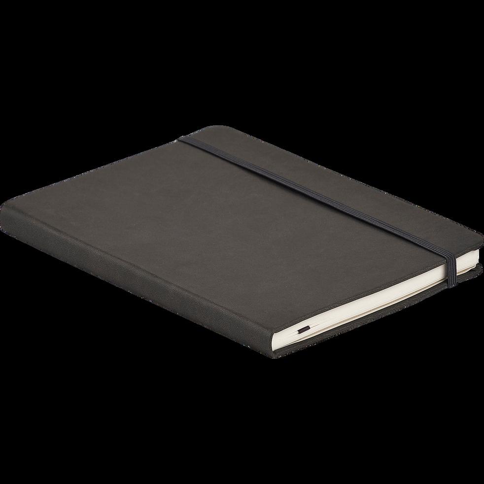 Carnet fermeture élastique gris 21,5x15,3cm-Myrthos