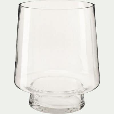 Vase conique fait-main en verre - transparent D22xH27cm-POLYGALA