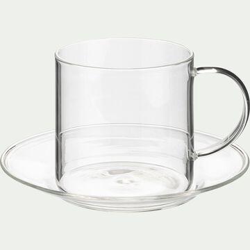 Tasse avec sous-tasse en verre transparent 35cl-AUBER