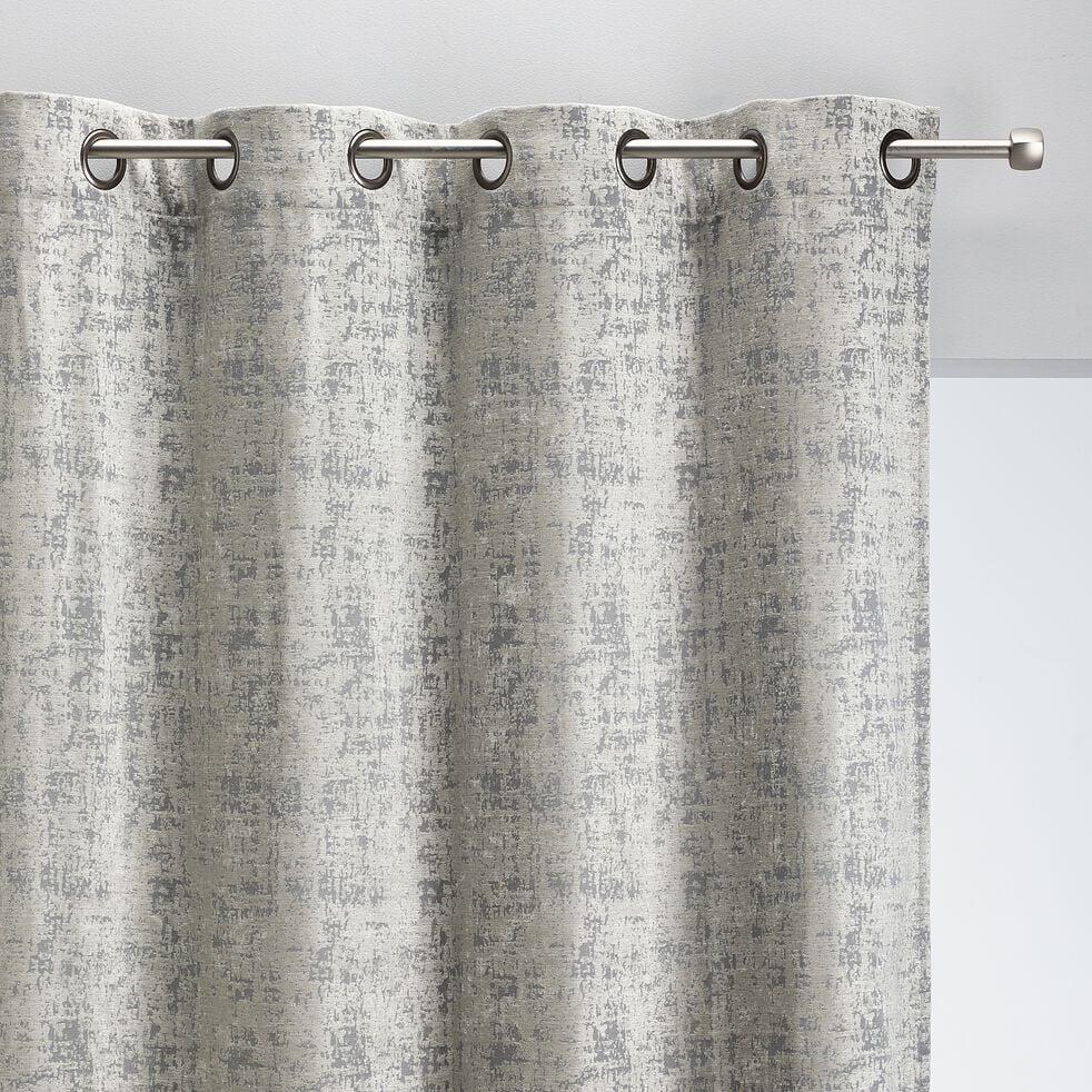 Rideau à œillets en velours de polyester dévoré - gris 140x250cm-CHI