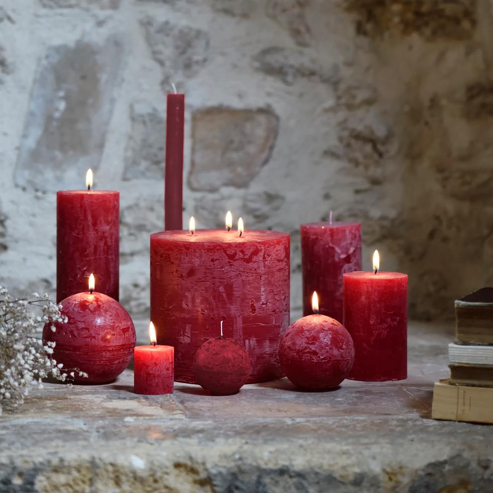 Bougie lanterne coloris rouge arbouse 15x15cm-BEJAIA
