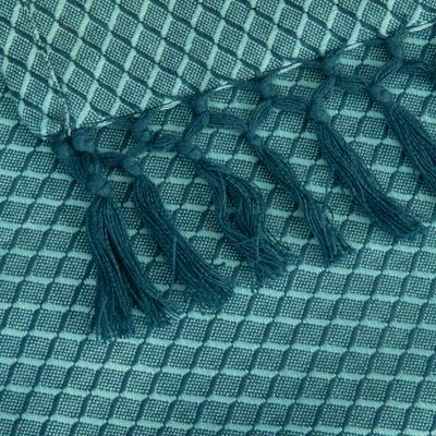 Plaid en coton bleu turquoise 130x170cm-LUIZA
