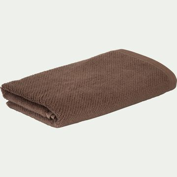 Serviette de toilette bouclette en coton bio - brun châtaignier 50x90cm-COLINE