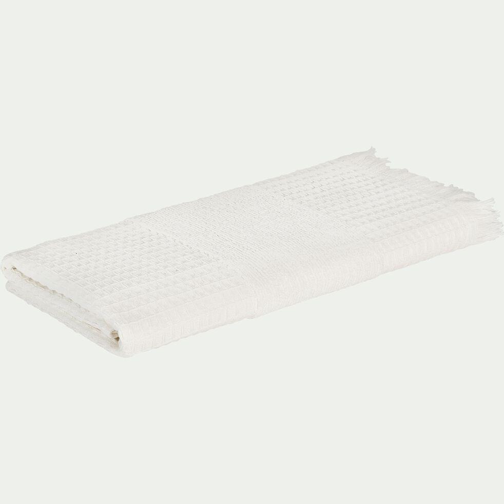 Serviette de toilette bouclette et nid d'abeille en coton - blanc 50x100cm-TOMAR