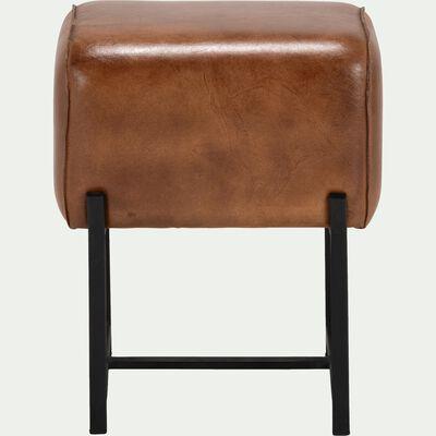 Pouf en cuir marron-ARENAS