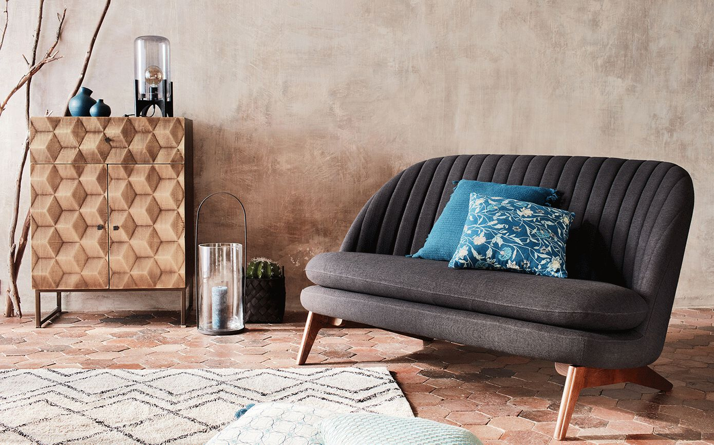 Canapé 2 places fixe en tissu gris calabrun-VENOSA