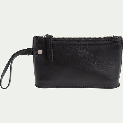 Porte-monnaie en cuir - noir 10x16cm-EUGENIE