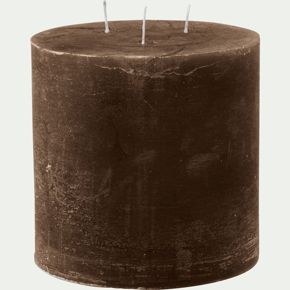 Bougie lanterne coloris brun ombre D15xH15cm-BEJAIA