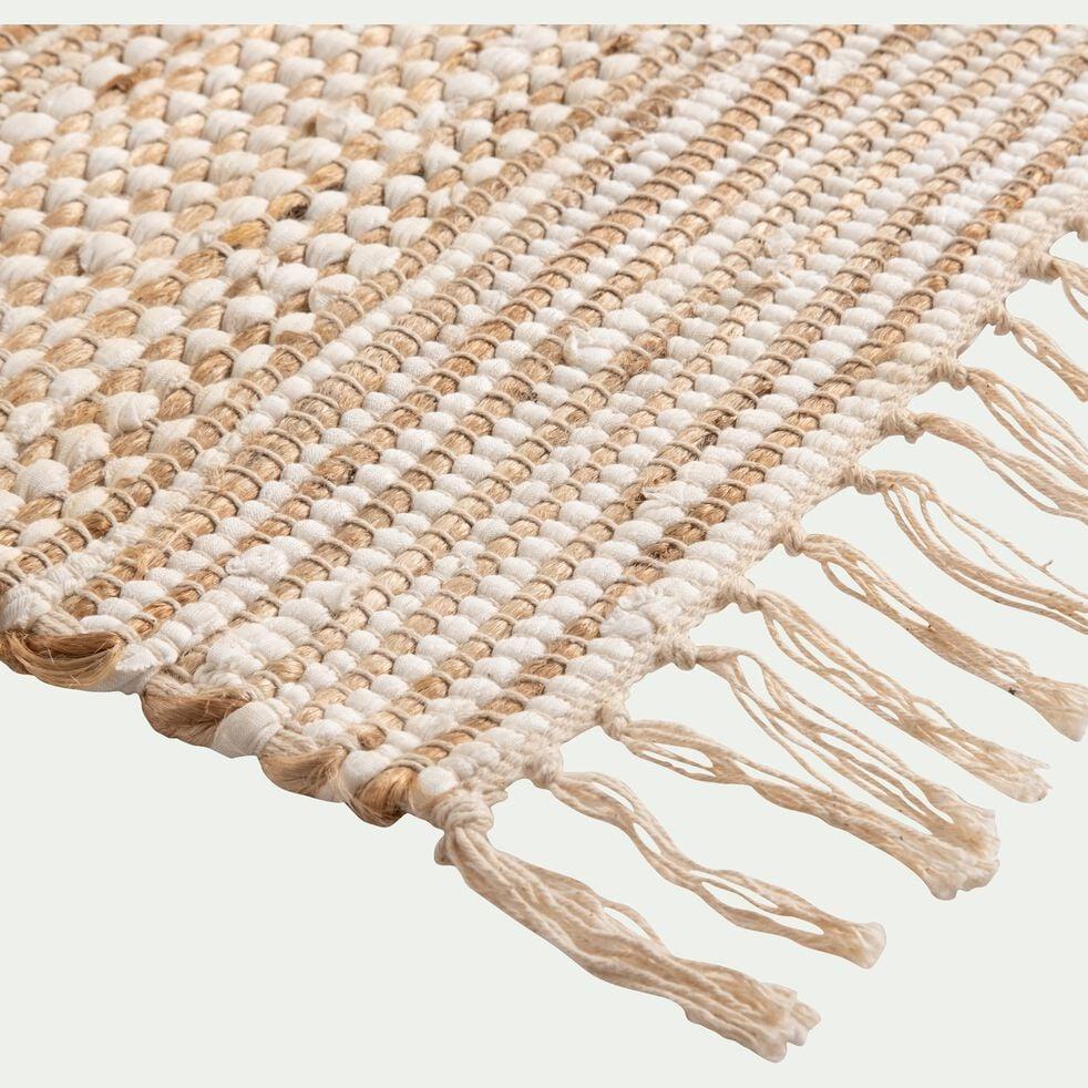 Tapis en coton recyclé et jute - naturel et blanc 160x230cm-lieto