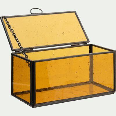 Boîte en verre et métal teinté - orange L15xl7,5xH7,5cm-ATHENA