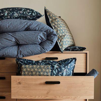 Lot de 2 taies d'oreiller en percale de coton - bleu 63x63cm-AZALEE