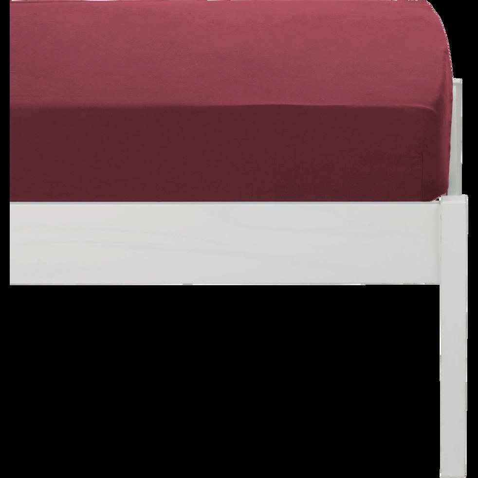 Drap housse en coton lavé rouge sumac 90x140 cm-CALANQUES