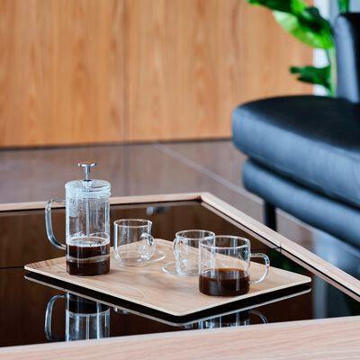 Coffret cafetière et tasses en verre transparent-SABIN