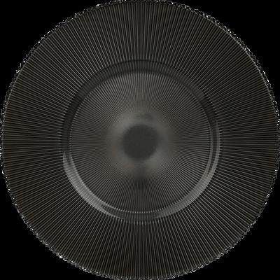 Assiette de présentation en verre strié gris foncé D35cm-SUPERBE