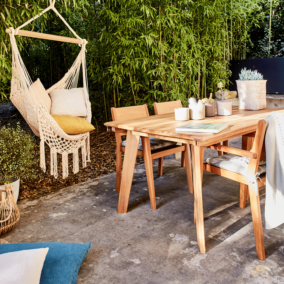 Table de jardin extensible en eucalyptus (6 à 10 places)-DEGABY