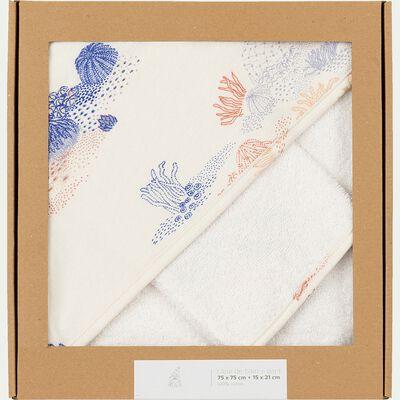 Ensemble cape de bain et gant bébé avec imprimé - multicolore-Recif