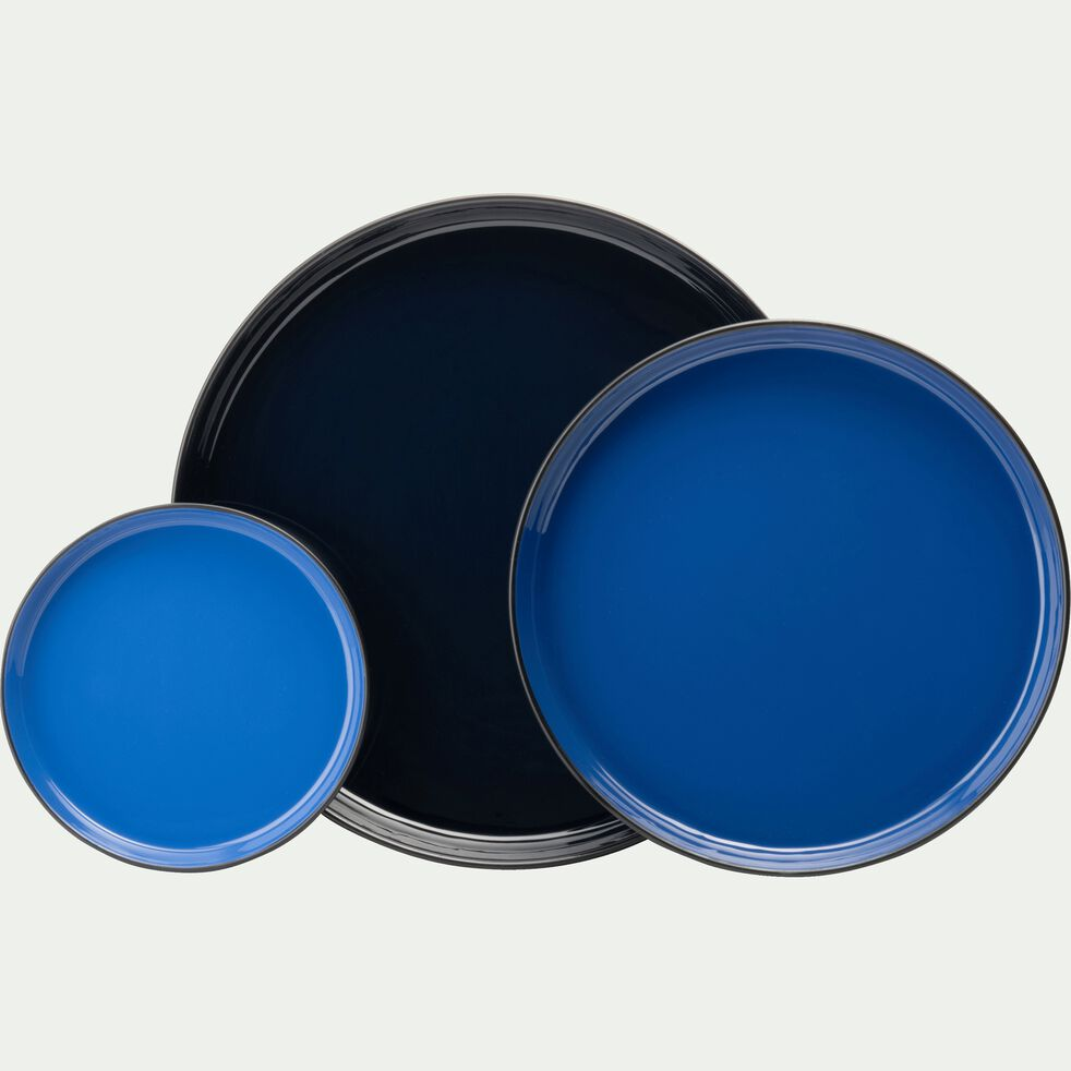 Plateau rond en métal émaillé - bleu D30cm-ELISA