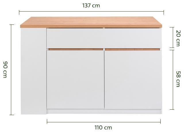 Bar îlot central effet chêne et blanc mat - L140cm-GABIN