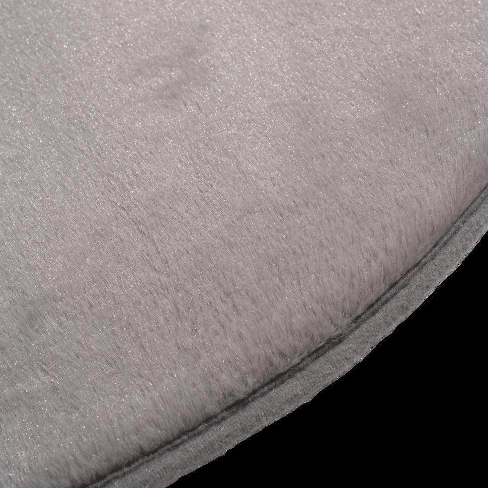 tapis rond imitation fourrure gris restanque plusieurs. Black Bedroom Furniture Sets. Home Design Ideas