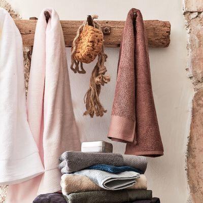 Serviette invité en coton peigné - brun rhassoul 30x50cm-AZUR