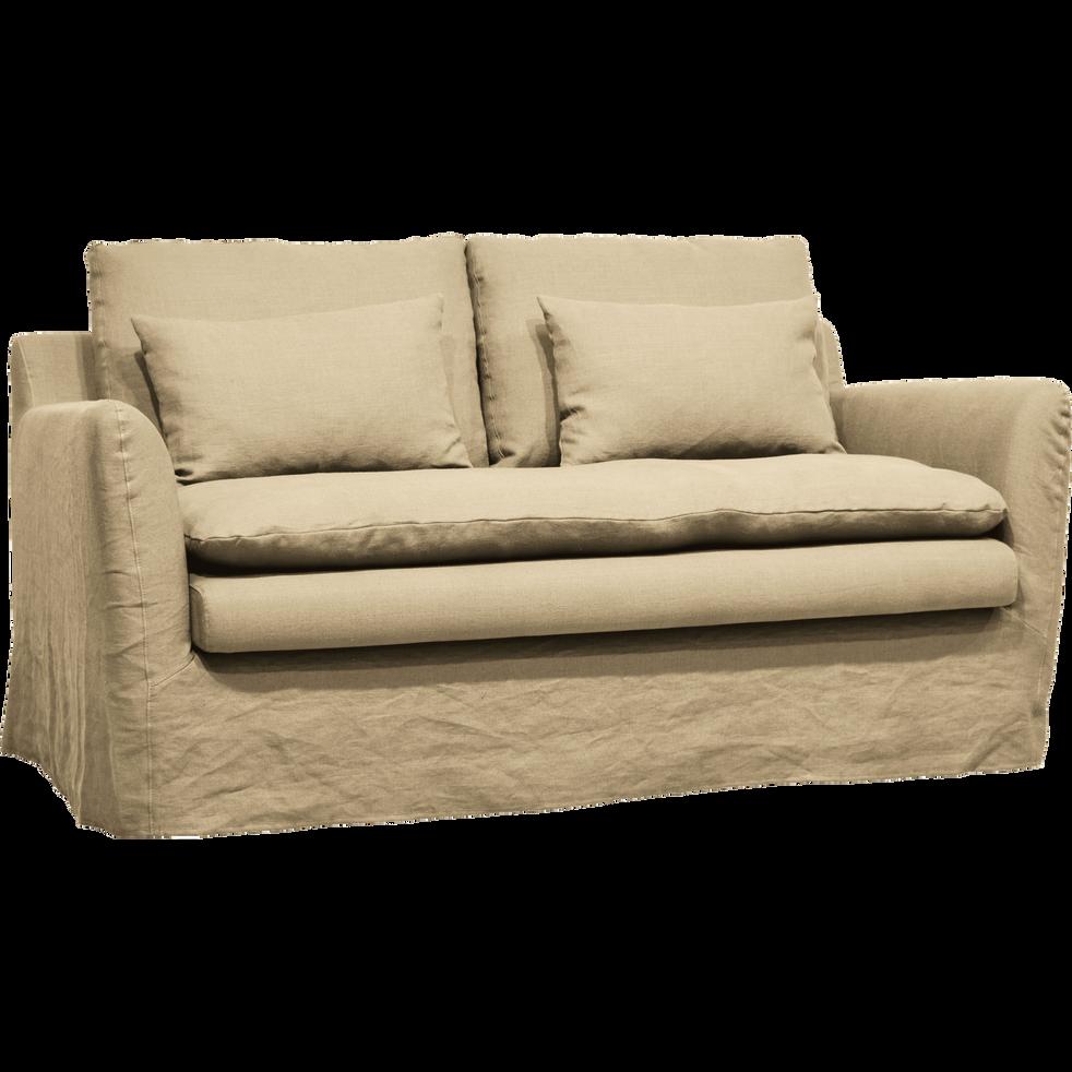 Canapé 2 places fixe jupe longue en lin beige roucas-FITOU