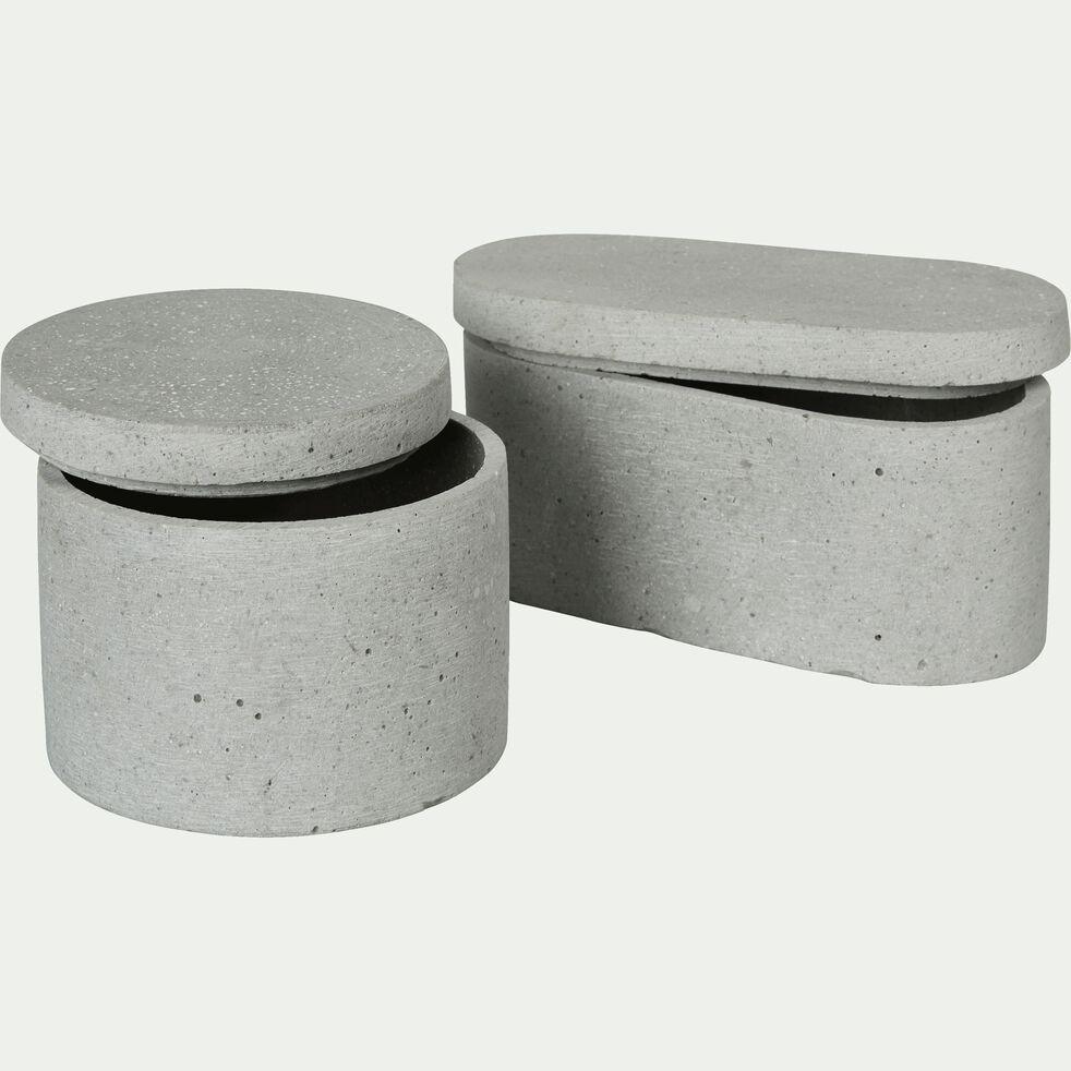 Boîte décorative ronde effet béton en polystone - gris D10xH7,5cm-CALCIS