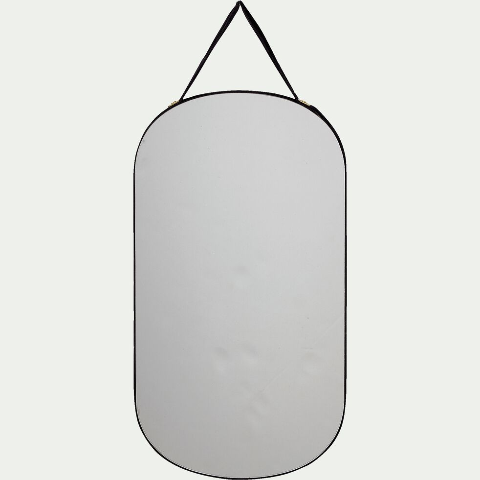 Miroir mural ovale en velours - noir  26x14cm-BELISSO
