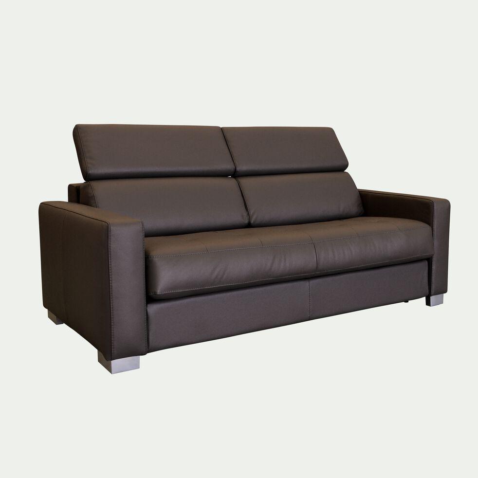 Canapé 3 places fixe en cuir avec accoudoir 15cm - marron-MAURO