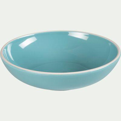 Assiette creuse en faïence bleu turquoise D16cm-CAMELIA