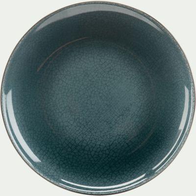 Assiette à dessert en grès bleu et noir D22cm-IMPERIA